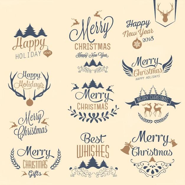 Typografiedesign Der Frohen Weihnachten Und Des Guten Rutsch Ins
