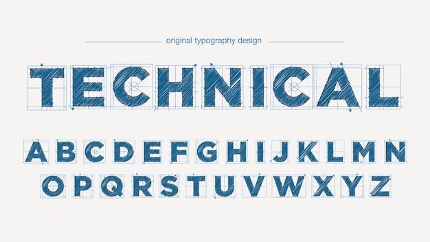Typografieentwurf des technischen zeichnungsstils Premium Vektoren