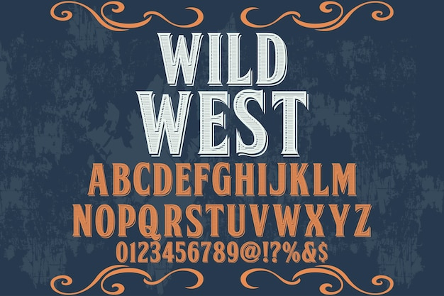 Typografieschriftbildtypografieschriftart wilder westen Premium Vektoren