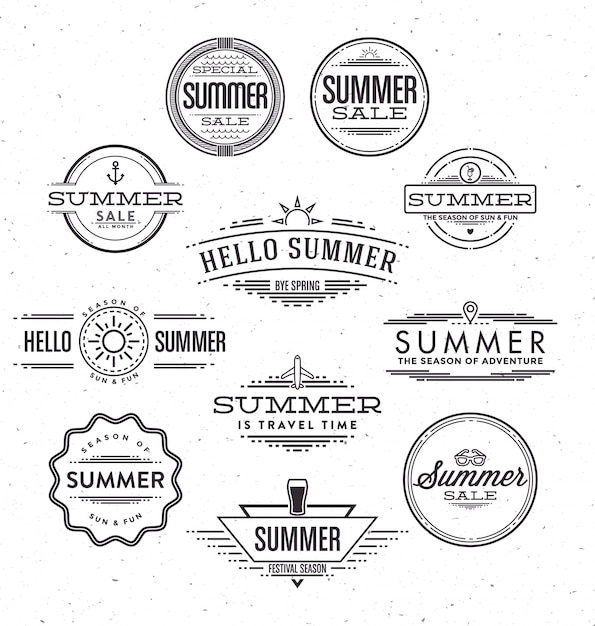 Typografische Sommer-Designs Kostenlose Vektoren