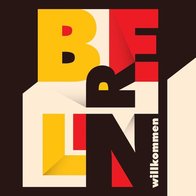 Typografischer berliner hintergrund Premium Vektoren