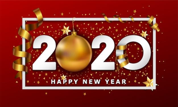 Typografischer cretaive hintergrund 2020 des neuen jahres mit weihnachtsgoldenen kugelflitter- und -streifenelementen Premium Vektoren
