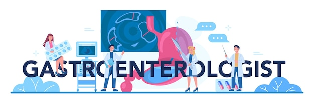 Typografischer header des gastroenterologen. idee der gesundheitsversorgung und magenbehandlung. Premium Vektoren