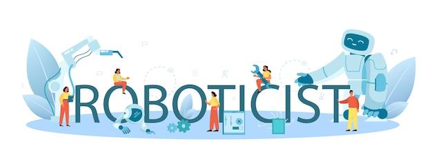 Typografischer header des roboters. robotertechnik und konstruktion. Premium Vektoren