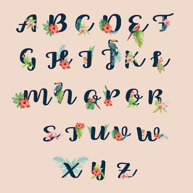 Typografischer sommer der tropischen alphabethandschrift mit betriebslaubkonzept Kostenlosen Vektoren