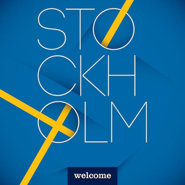 Typografischer stockholm-hintergrund Premium Vektoren