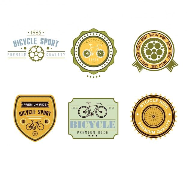Typografisches fahrrad-themen-etikettendesign-set - fahrradgeschäft Premium Vektoren