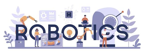 Typografisches header-konzept der robotik. robotertechnik und programmierung. idee von künstlicher intelligenz und futuristischer technologie. maschinenautomatisierung. isolierte vektorillustration im karikaturstil Premium Vektoren
