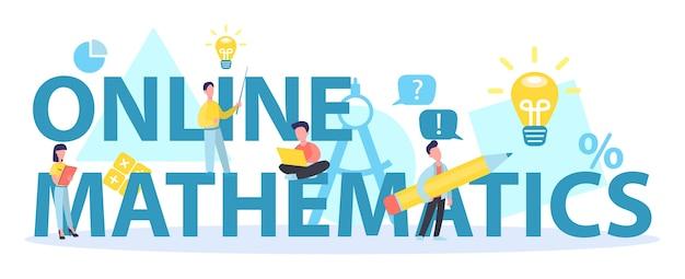 Typografisches header-konzept des online-mathematikkurses. mathematik lernen im internet, idee von fernunterricht und wissen. Premium Vektoren