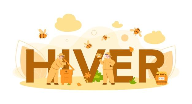 Typografisches header-konzept für bienenstock oder imker. professioneller bauer mit bienenstock und honig. land bio-produkt. bienenhaus, imkerei und honigproduktion. Premium Vektoren