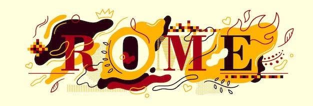 Typografisches rom-bannerdesign Premium Vektoren