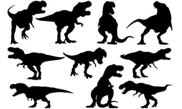 Tyrannosaurus dinosaurier silhouette Premium Vektoren