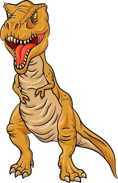 Tyrannosaurus rex-charakter lokalisiert auf weißem hintergrund Premium Vektoren