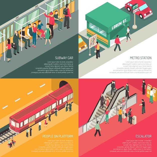 U-bahn-metro 4 isometrisches ikonen-quadrat Kostenlosen Vektoren