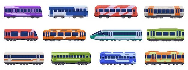 U-bahn-personenzüge. hochgeschwindigkeitszüge, u-bahn, u-bahn. illustrationssymbole der personentransportfahrzeuge eingestellt. öffentlicher u-bahn-van, straßenbahn-u-bahn, städtische elektrische eisenbahn Premium Vektoren