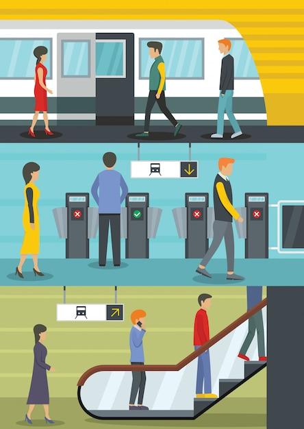 U-bahnstation hintergrund Premium Vektoren