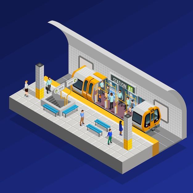U-bahnstation isometrisches konzept Kostenlosen Vektoren