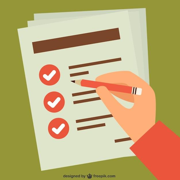 Überprüfen Aufgabenliste von Hand Kostenlose Vektoren