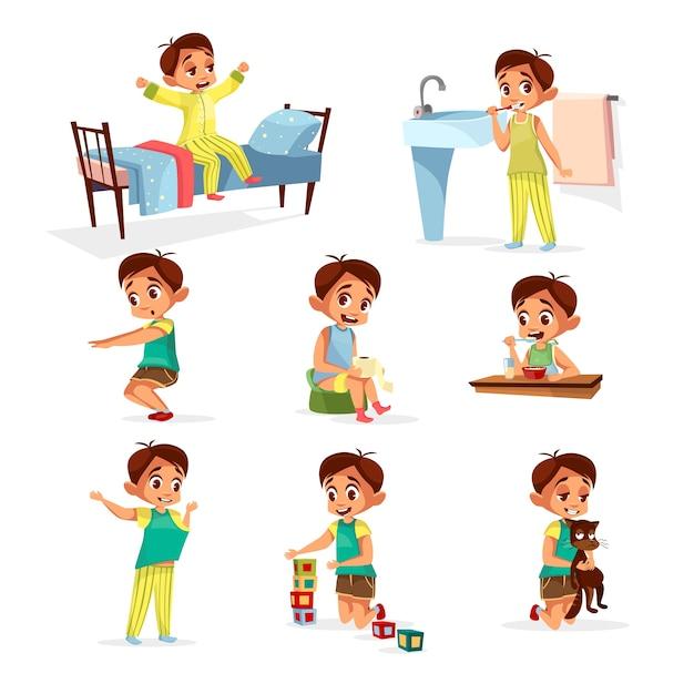 Übungssatz des Karikaturjungen täglichen Programms. Männlich Charakter aufwachen, strecken, Zähne putzen Kostenlose Vektoren