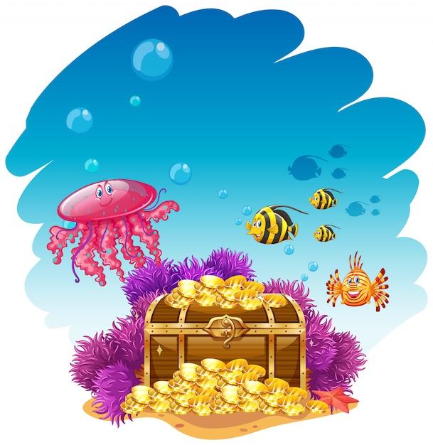 Uderwater-szene mit schatzkiste und fischen Kostenlosen Vektoren