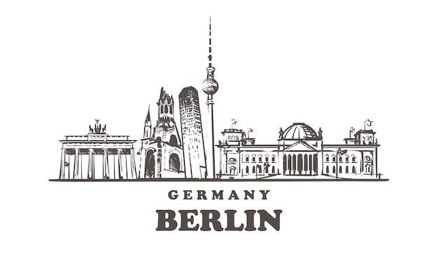 Überblick über berliner sehenswürdigkeiten, deutschland Premium Vektoren