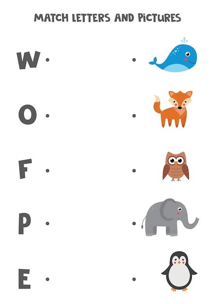 Übereinstimmende buchstaben und bilder. pädagogisches logisches spiel für kinder. alphabet lernarbeitsblatt für kinder im vorschulalter. nette cartoon-tiere. Premium Vektoren