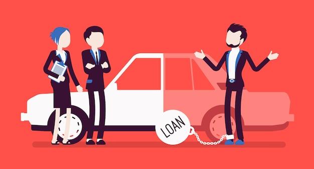 Überfälliger autokredit. unglückliche kunden und agenten, geliehenes geld, das wahrscheinlich nicht bezahlt wird, schwere last, um einen kredit zu tragen, problem und last der finanzkrise. illustration mit gesichtslosen zeichen Premium Vektoren