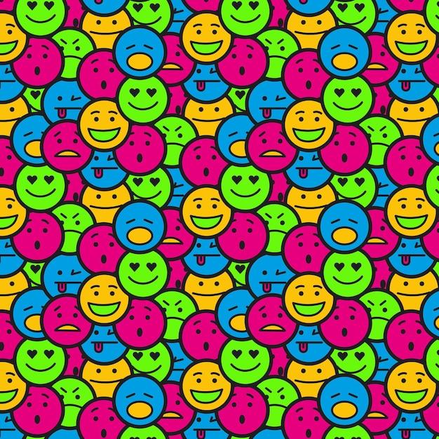 Überfülltes nahtloses muster des smiley-emoticon Kostenlosen Vektoren