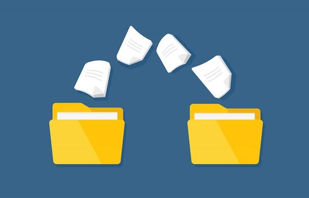 Übergabe der dokumentation. flache ordner des vektors mit papierdateien. Premium Vektoren