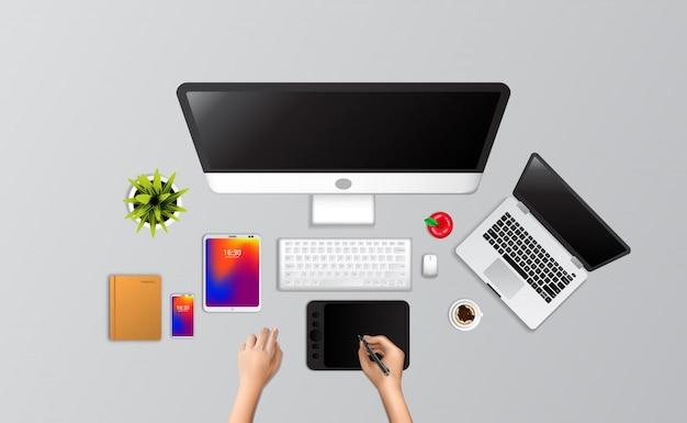 Übergeben sie designervollen computerinstallationslaptop des abgehobenen betrages und vorsprung, telefon, notizbuch, kaffee von der draufsicht zeichnen. Premium Vektoren