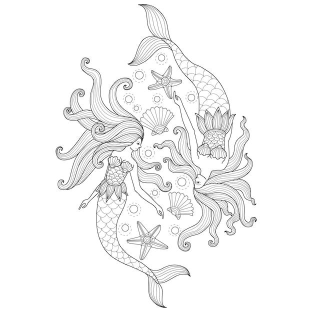 Übergeben sie gezogene illustration von zwei meerjungfrauen in der zentangle art Premium Vektoren