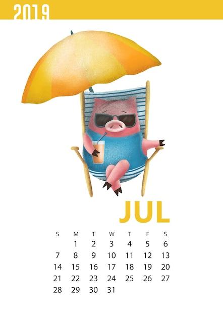 Übergeben sie gezogene kalenderillustration des lustigen schweins für juli 2019 Premium Vektoren