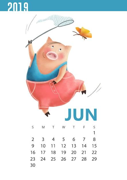 Übergeben sie gezogene kalenderillustration des lustigen schweins für juni 2019 Premium Vektoren