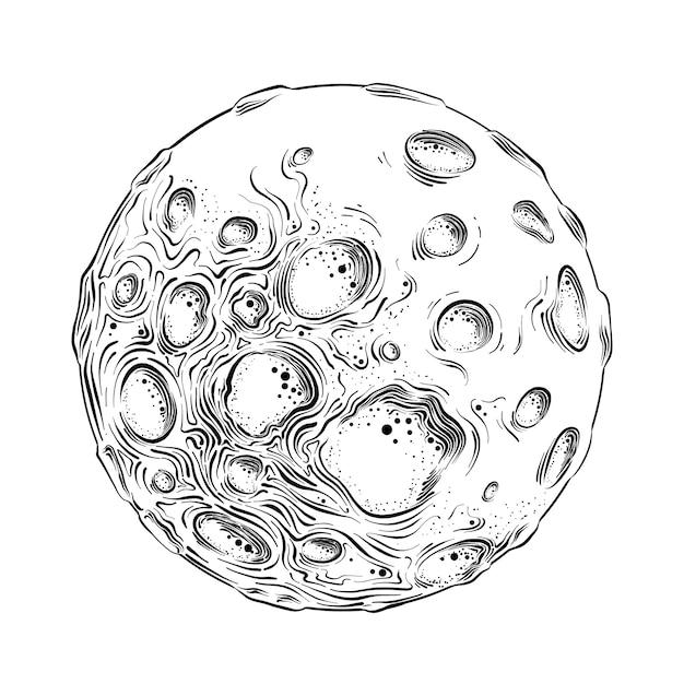 Übergeben sie gezogene skizze des mondplaneten im lokalisierten schwarzen. ausführliche weinleseartzeichnung. Premium Vektoren