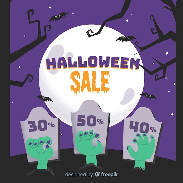 Übergeben sie gezogenen halloween-verkauf auf einer vollmondrabattnacht Kostenlosen Vektoren
