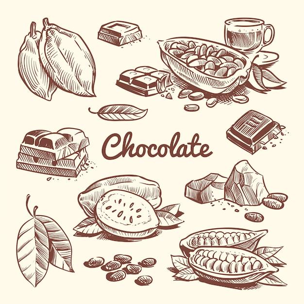 Übergeben sie gezogenen kakao, blätter, kakaosamen, süßspeise und schokoriegel. kakaoskizzen-vektorsammlung Premium Vektoren