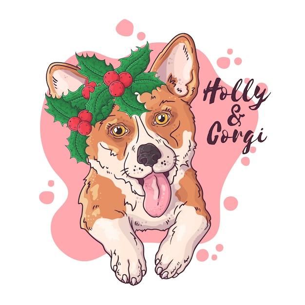 Übergeben sie gezogenes porträt des corgihundes mit weihnachtsblumen vektor. Premium Vektoren