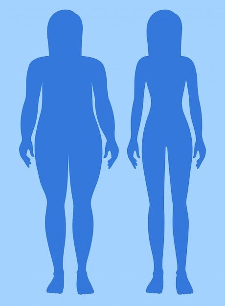 Übergewicht und gesundes gewicht frau Kostenlosen Vektoren