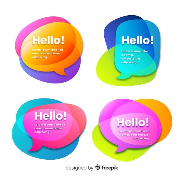Überlagern sie bunte formen für sprechblasen mit hallo! zitat Kostenlosen Vektoren