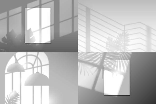 Überlagern sie den transparenten effekt mit schatten von blättern und objekten Kostenlosen Vektoren
