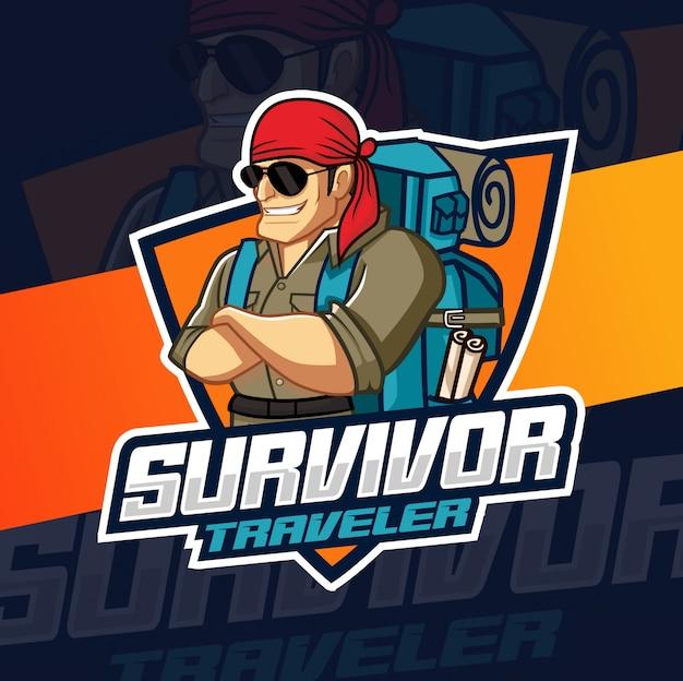 Überlebender mann maskottchen-logo-design Premium Vektoren