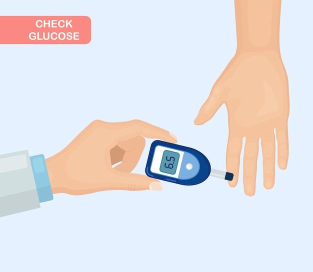 Überprüfen sie die glukose mit einem glukometer. bluttest Premium Vektoren