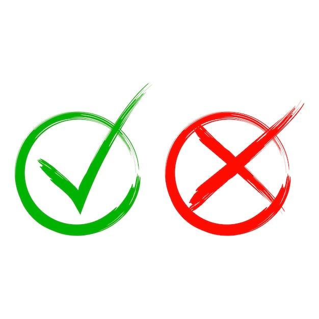 Überprüfen sie die symbole. ein grün, ein rot. ja oder nein. weißer hintergrund Premium Vektoren