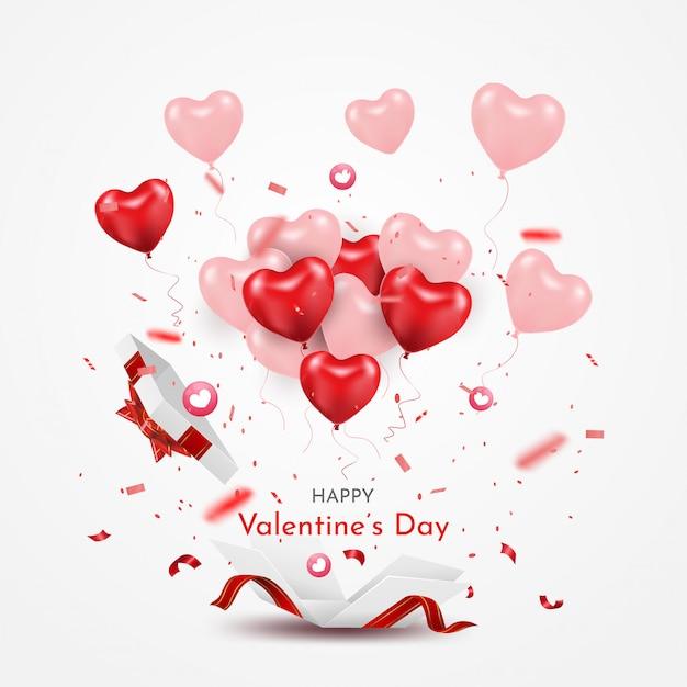 Überraschen sie weiße geschenkbox mit ballonen des roten bandes und des herzens 3d. öffnen sie die lokalisierte geschenkbox. fröhlichen valentinstag und party. Premium Vektoren