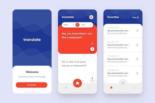 Übersetzer-app-sammlungsvorlage Premium Vektoren