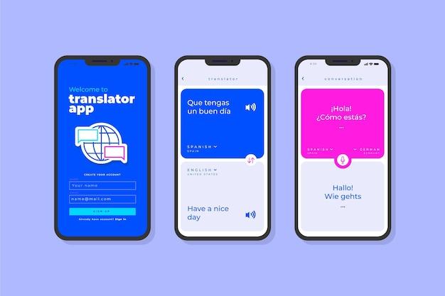 Übersetzer-app-schnittstellenkonzept Kostenlosen Vektoren