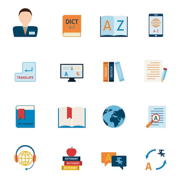 Übersetzungs- und wörterbuchikonen eingestellt Kostenlosen Vektoren