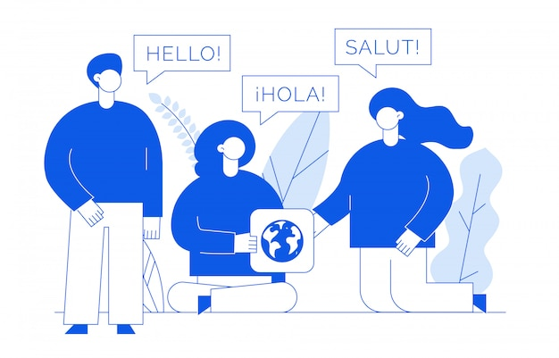 Übersetzungskonzept mit menschen Premium Vektoren