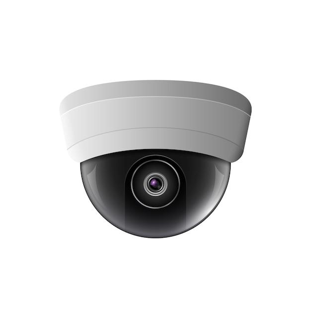 Überwachungskamera abbildung. sicherheitskontrollausrüstung. deckenkameraschutztechnologie. videoüberwachung video ansehen. Premium Vektoren