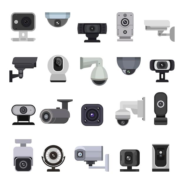 Überwachungskamera cctv-steuerung sicherheit videoschutz technologie system illustration satz datenschutz sichere schutzausrüstung webcam digitales gerät isoliert Premium Vektoren